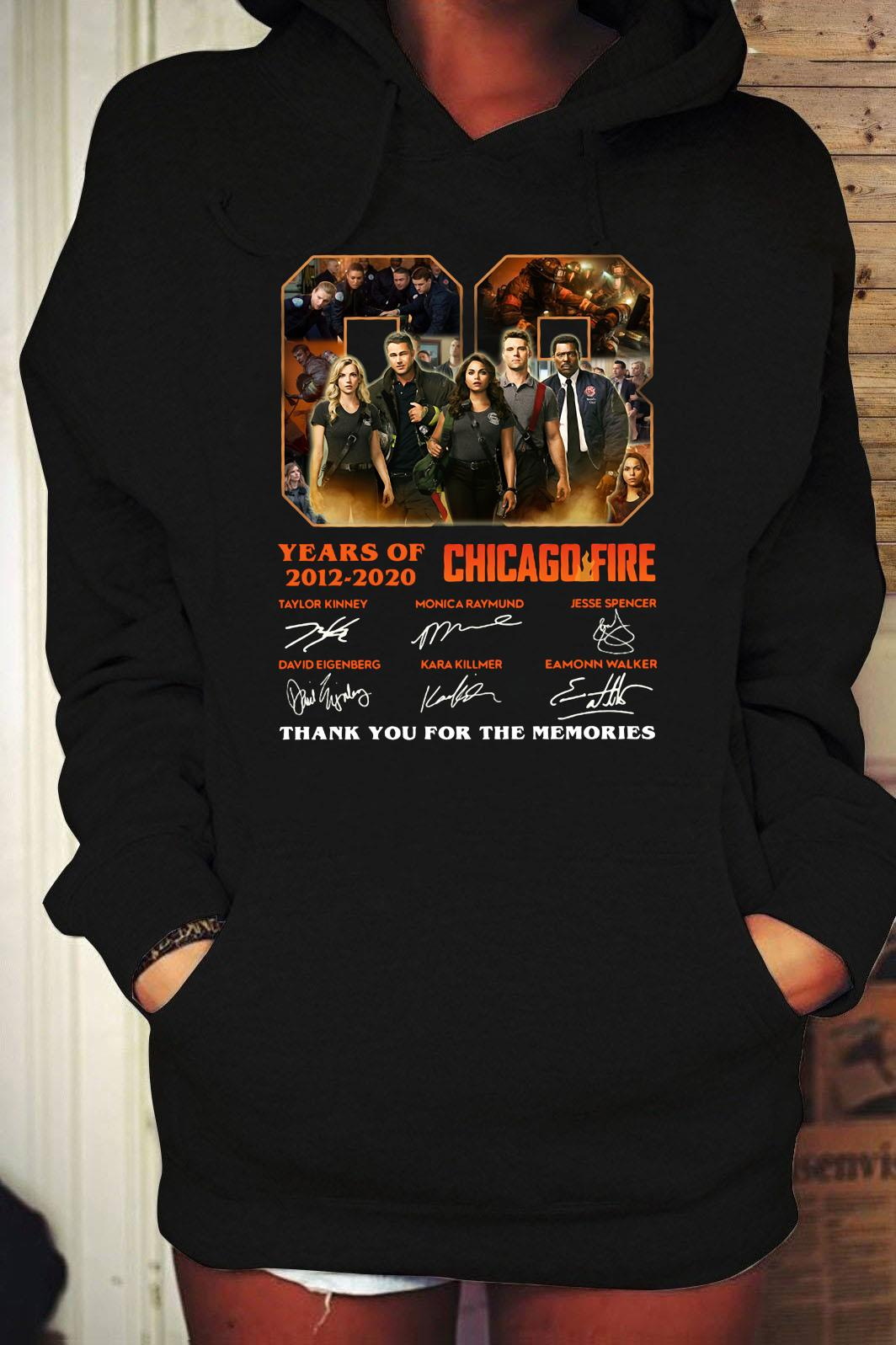 08 Years Of 2012 2020 Chicago Fire Thank You For The Memories Signatures Shirt Hoodie