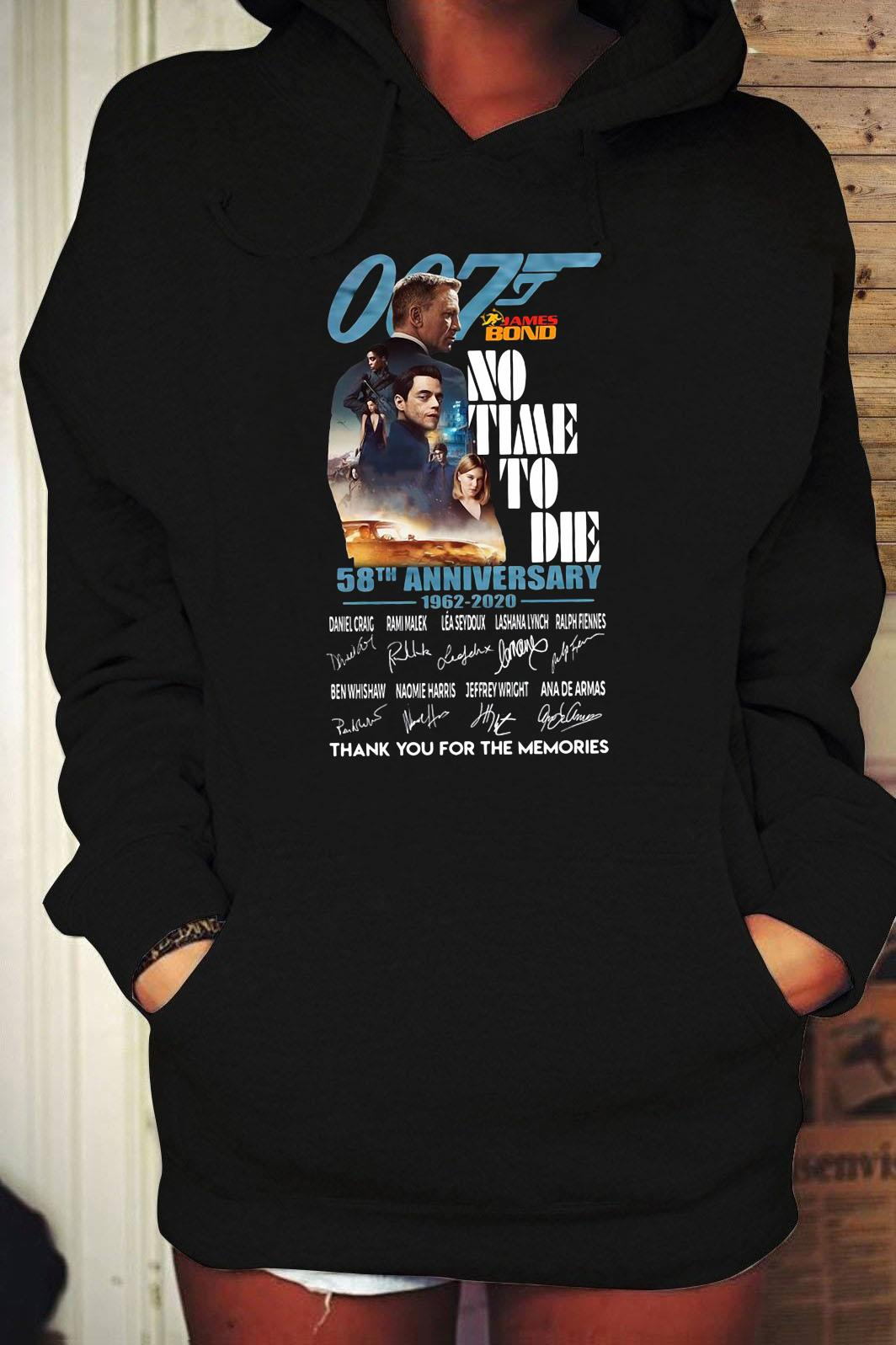 007 James Bond No Time To Die 58th Anniversary 1962 2020 Thank You For The Memories Signatures Shirt Hoodie