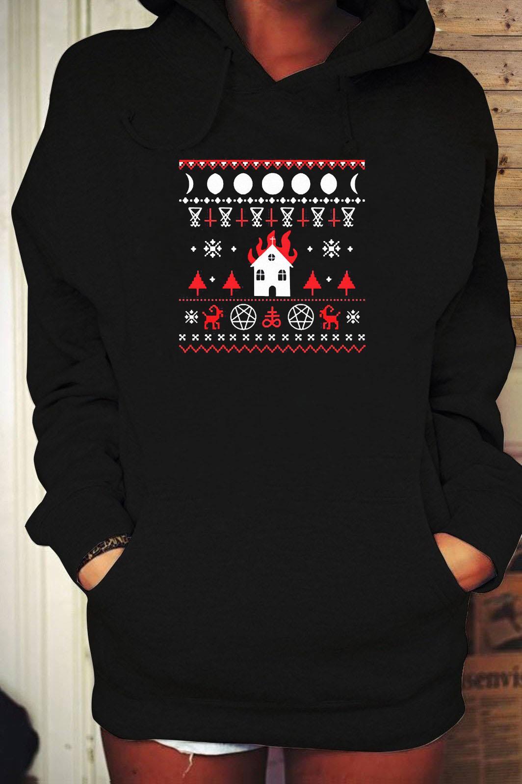 Burning Church Ugly Christmas 2020 Shirt Hoodie