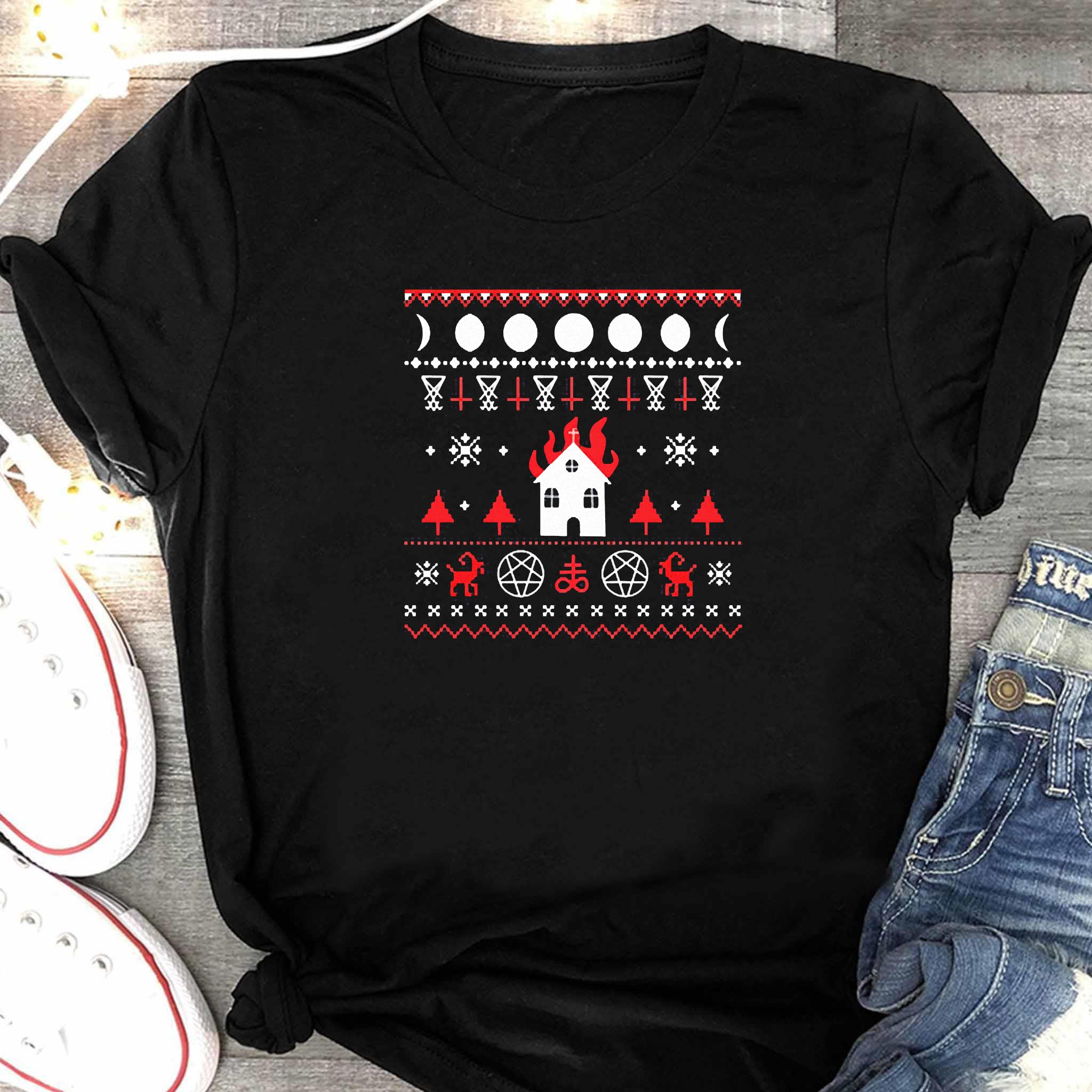 Burning Church Ugly Christmas 2020 Shirt Women's Shirt