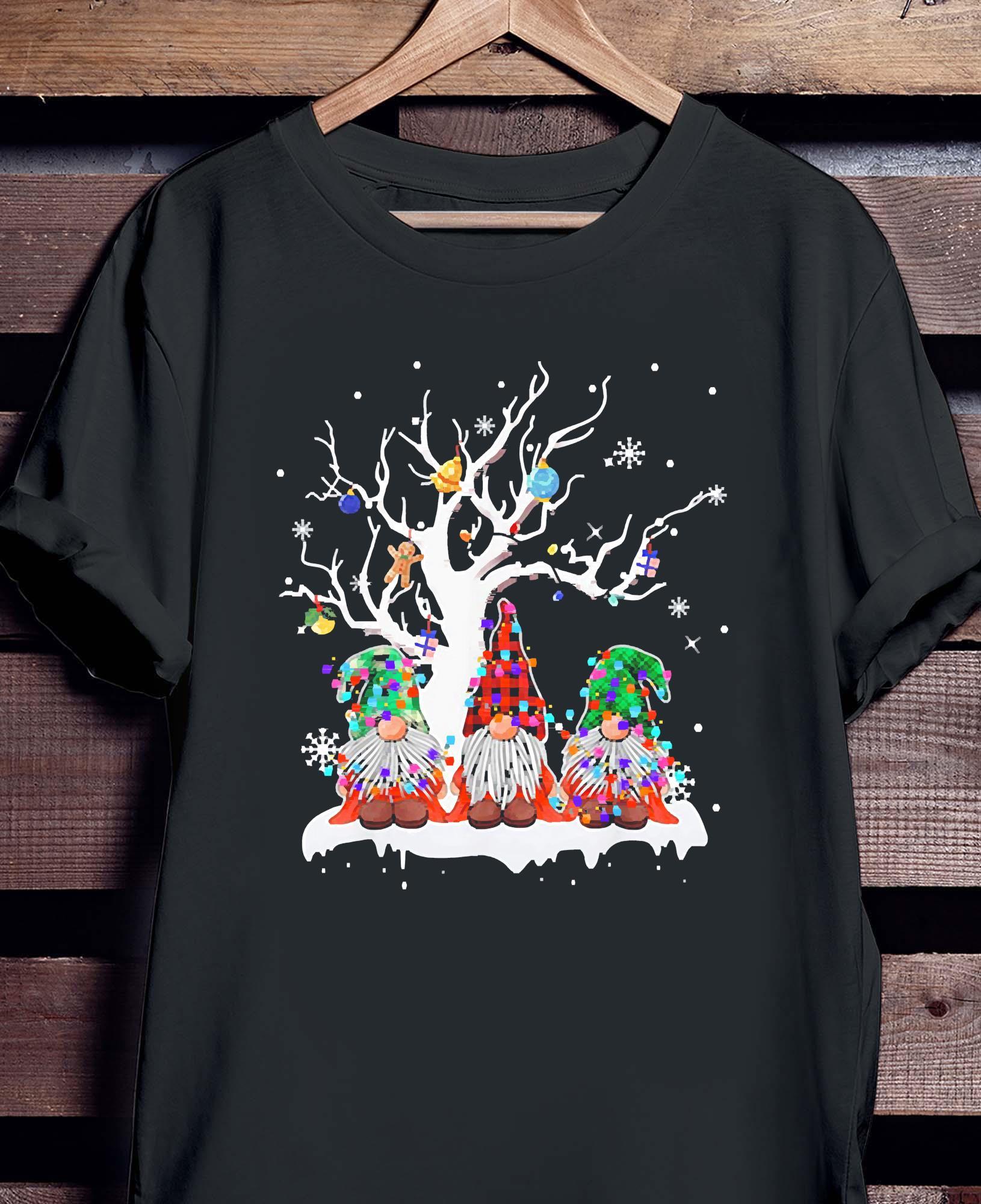 Gnome Buffalo Plaid Christmas Tree Light Ugly Santa Hat Shirt Hoodie Sweater And Ladies Shirt