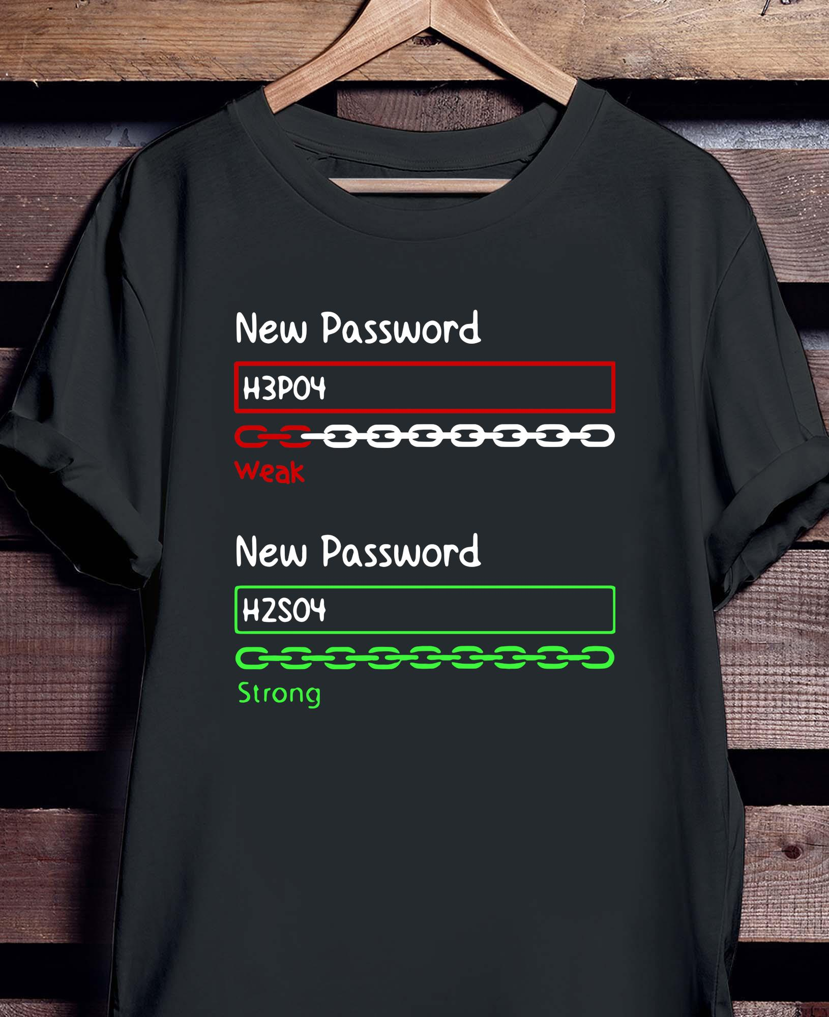 New Password H3PO4 Weak New Password H2SO4 Strong Shirt