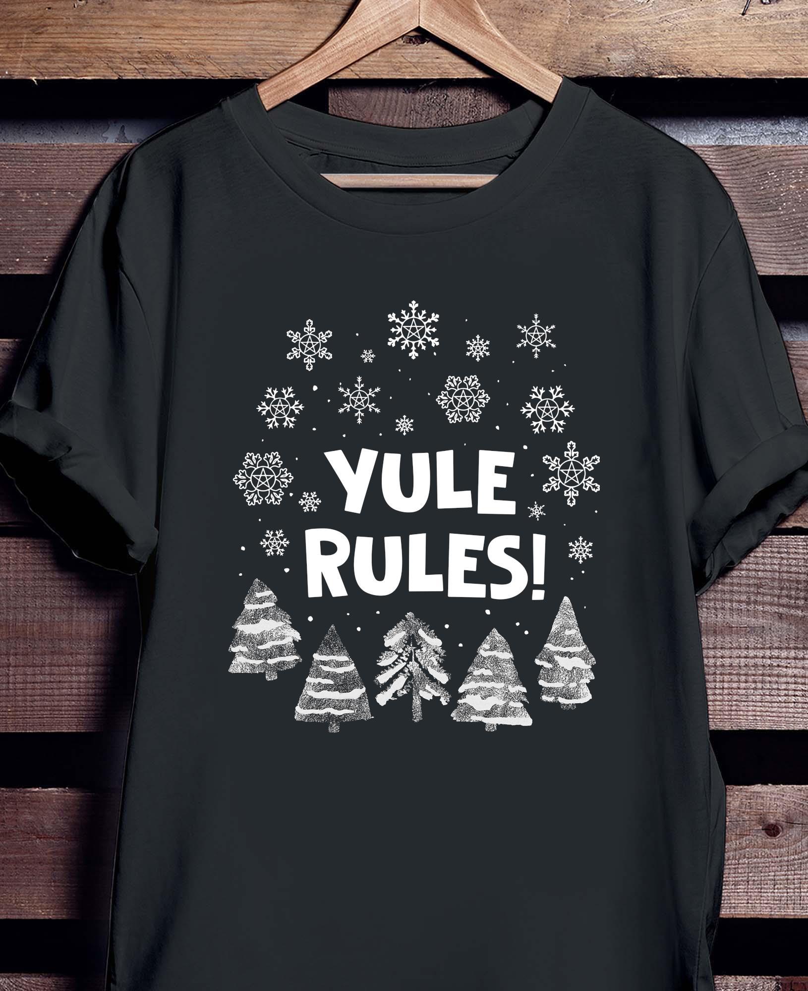 Yule Rules Snow Flower Christmas Shirt