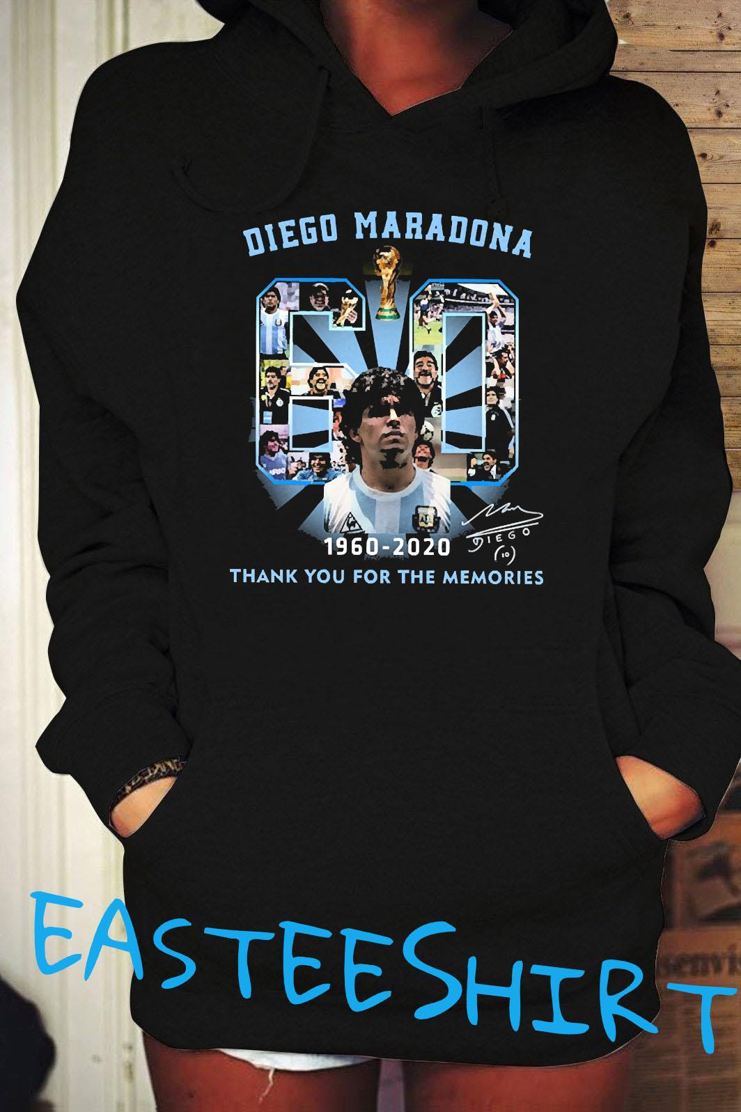 Diego Maradona 60 Years 1960 2020 Thank You For The Memories Shirt Hoodie