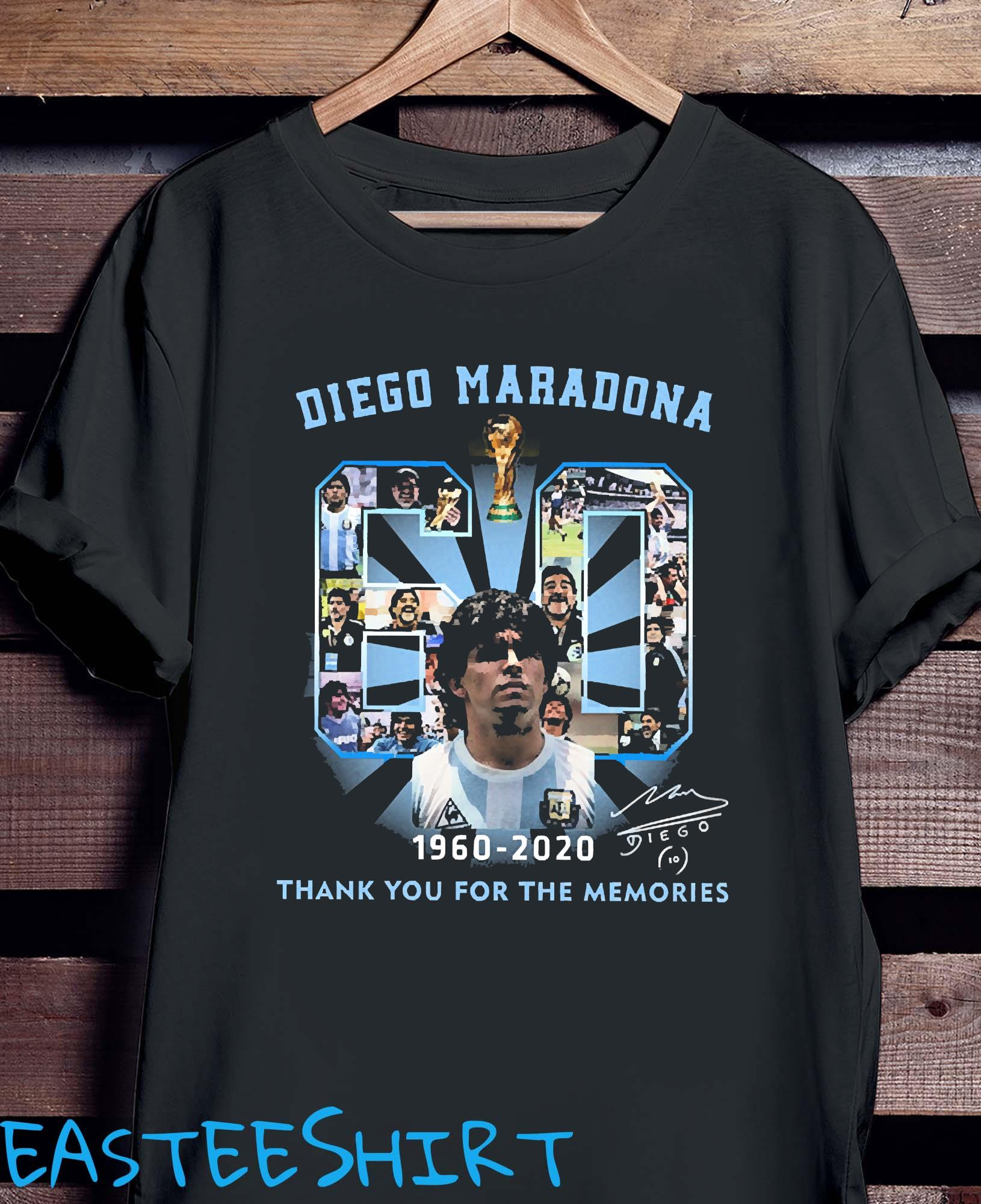 Diego Maradona 60 Years 1960 2020 Thank You For The Memories Shirt