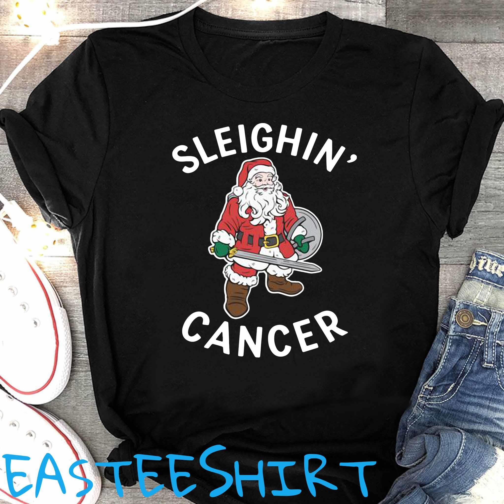 Santa Claus Sleighin' Cancer Shirt Women's Shirt
