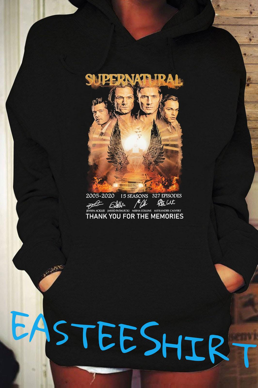 Supernatural 2005 2020 15 Seasons 327 Episodes Thank You For The Memories Signatures Shirt Hoodie