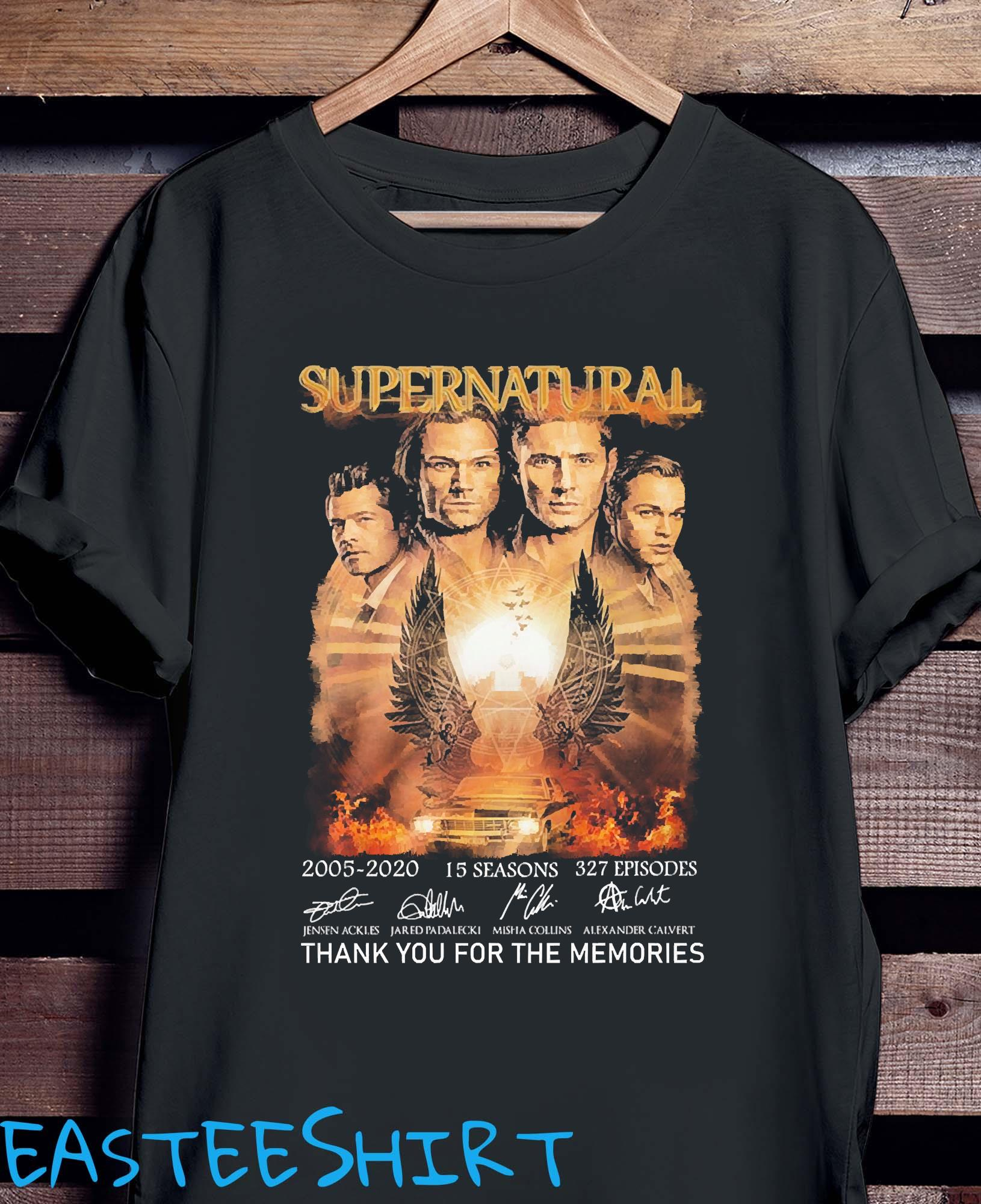 Supernatural 2005 2020 15 Seasons 327 Episodes Thank You For The Memories Signatures Shirt