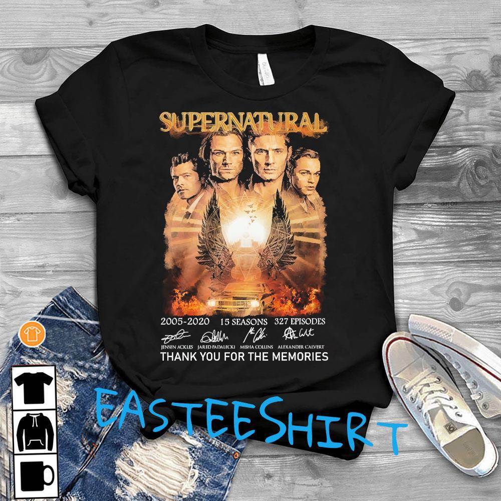 Supernatural 2005 2020 15 Seasons 327 Episodes Thank You For The Memories Signatures Shirt T-Shirt